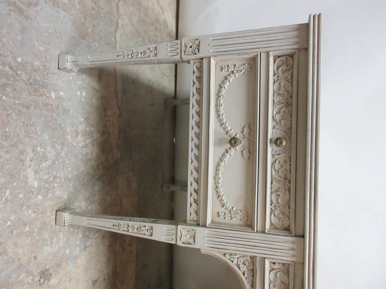 8 Leg Gustavian Style Carved Desk In Distressed Condition For Sale In Hollywood, FL