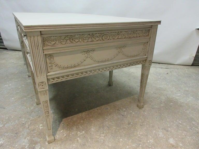 Wood 8 Leg Gustavian Style Carved Desk For Sale