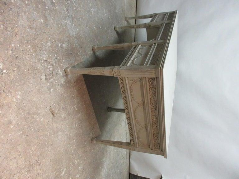 8 Leg Gustavian Style Carved Desk For Sale 1