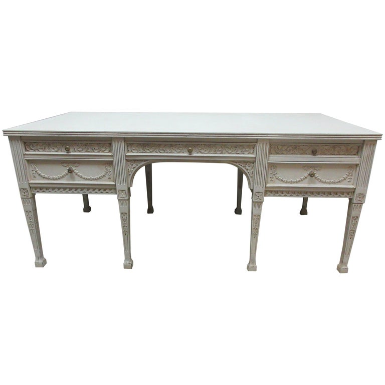 8 Leg Gustavian Style Carved Desk For Sale