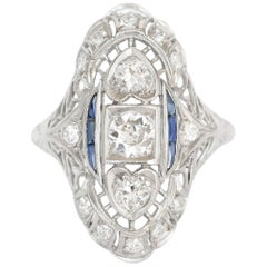 .80 Carat Total Weight Diamond and Sapphire Platinum Engagement Ring