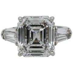 8.02 Carat GIA Three-Stone 8.02 carat emerald cut Diamond Platinum Ring