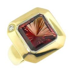 8.43 Carat Oregon Sunstone and Diamond 18 Karat and Platinum Ring