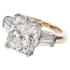 8.53 Carat Cushion Diamond Baguette 18 Karat Gold Engagement Ring