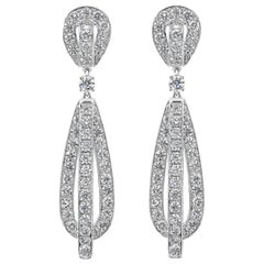 8.57 Carat Round Diamond Open-Work Dangle Earrings