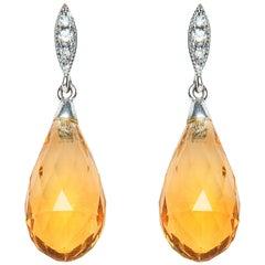 8.66 Carat Briolette Citrine Diamond 18 Karat Gold Drop Earrings Natalie Barney