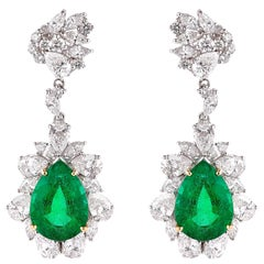 8.7 Carat Emerald and Diamond Earrings in 18 Karat White Gold