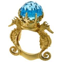 9 Karat Yellow Gold, Blue Topaz and Diamond Amphitrite's Crown Ring
