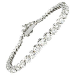 9.00 Carat Diamond Tennis Bracelet in 18 Karat White Gold