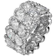 9.33 Carat Pear Shape Diamond 18 Karat White Gold Eternity Band Ring