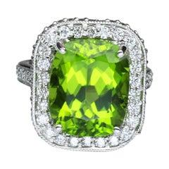 9.54 Carat Cushion Cut Peridot Diamond Gold Cocktail Ring Fine Estate Jewelry