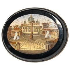 19th Century Italian Micromosaic Brooch