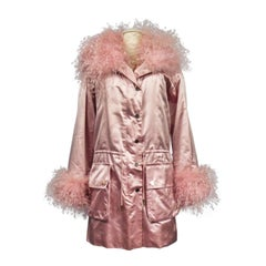 A Carven French Couture Evening Coat in Silk Satin and Feathers Circa 2003