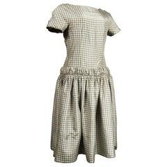 A Cristobal Balenciaga Couture Sac Dress in Plaid Taffeta n°55418 Circa 1958