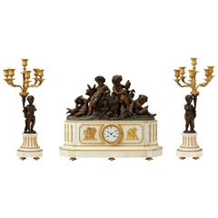 Deniere France White Marble and Gilt Bronze Clock Set