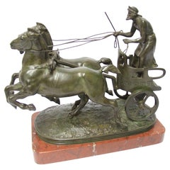 French 19th Century Bronze Sculpture of a Grecian Charioteer by Emmanuel Fremiet