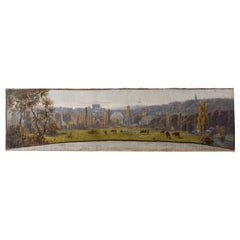 French Panoramic Landscape Painting Signed Claudius Seignol