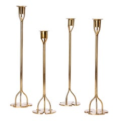 Group of Four Solid Brass Candlesticks by Josef Frank, 1940s