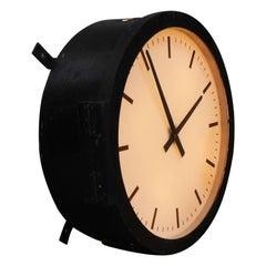 Huge Illuminated British Factory Clock
