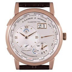 A. Lange & Sohne Lange 1 Time Zone Rose Gold Silver Dial B&P 116.032/LS1164AD