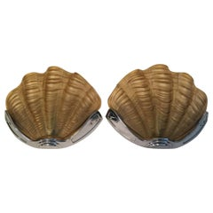 Lovely Pair of Art Deco Honey Color Shell Glass Sconces from 1930s