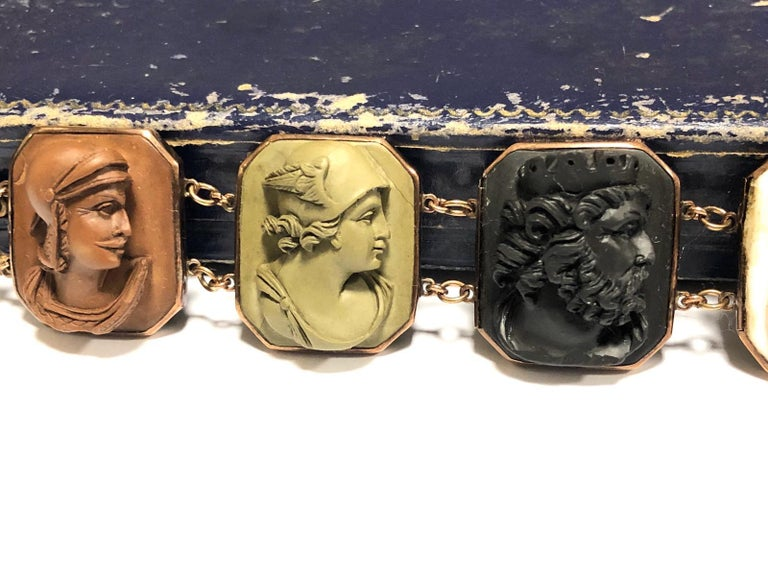 Women's or Men's Mid-19th Century Lava Cameo Bracelet, circa 1870 For Sale