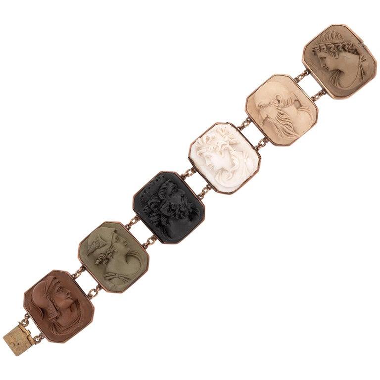 Mid-19th Century Lava Cameo Bracelet, circa 1870 For Sale