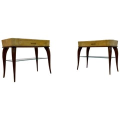 Midcentury Pair of 1950s Italian Wood and Parchment Bedside Tables