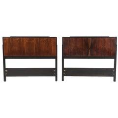 Pair of 1970s Mid-Century Modern Rosewood Ebonized Oak Twin Headboards