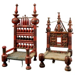 Pair of Old Punjabi Handcrafted Wooden Tribal Wedding Chairs