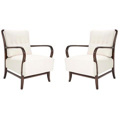 Pair of Paolo Buffa Style Walnut Armchair
