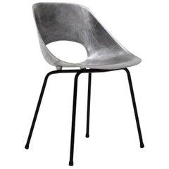 """Pierre Guariche Cast Aluminium """"Tonneau"""" Chair, Steiner Meubles, Paris, 1954"""