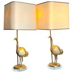 "Rare Pair of Gabriella Crespi ""Struzzo"" Lamps with Real Ostrich Egg Bodies"