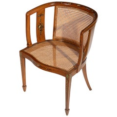 Sheraton Style Satinwood Chair with Painted Decoration
