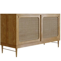 Sideboard for Sanders by Lind + Almond in Natural Oak and Rattan