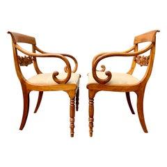 Swedish Pair of Signed Karl Johan Empire Beechwood Armchairs