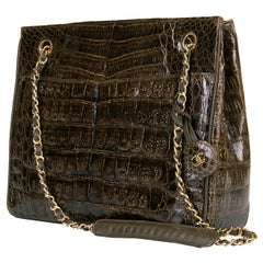 A Very Rare Chanel Chocolate Brown Alligator Shoulder Bag by Karl Lagerfeld