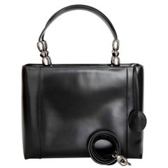 A Vintage Black Christian Dior Leather Hand- and Shoulder bag