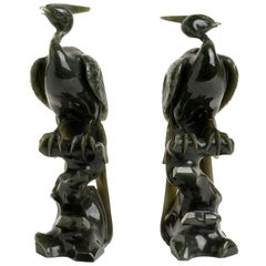 Vintage Pair of Jade Pheasants, China, Early 20th Century