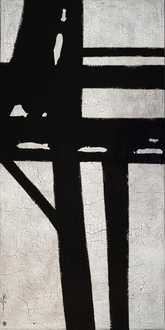 """""""Straightforward"""" Black and White Contemporary Abstract Painting"""