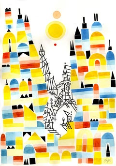 Once Upon a Valley, Large Blue, Yellow, Red and Black Watercolors and Ink