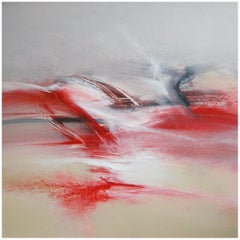 """Of Snow and Fire"" Red Beige Black and White Abstract Painting"