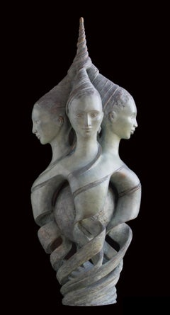 """""""Harmonic Convergence"""", Triple Intricated Androgyn Busts Bronze Sculpture"""