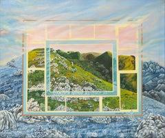 """Mountains"", Highlander Pink Sky Landscape Naive/Primitivist Acrylic Painting"