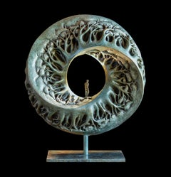 """Through the Looking Glass"", Man Walking on Forest Mobius Band Bronze Sculpture"