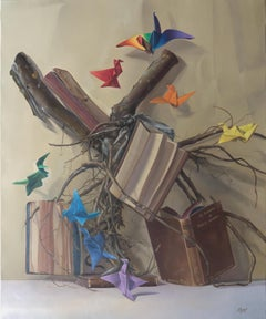 """Knowledge Root"", with Rainbow Colors Origami Cranes, Symbolism Oil Painting"