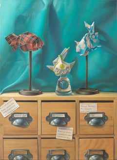 """Imaginary Museum of Origami Fishes"", Symbolism Oil Painting for Child's Room"