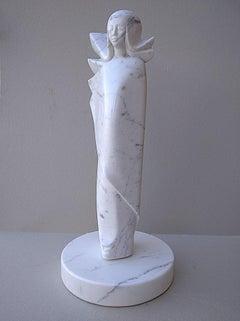 Angel, White Carrara Marble Stone Vertical Figurative Sculpture