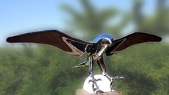 """""""Falcon"""", Monumental Bird Figurative Stainless Steel Sculpture on Marble Base"""