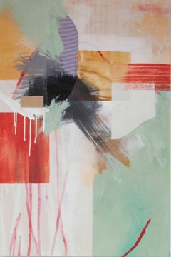 Seemingly Simple II, Rebecca Stern, Abstract Mixed media, Red, Green, Yellow